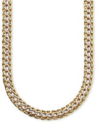 Macy's - 14k Gold Over Sterling Silver And Sterling Silver Necklace, Mesh - Lyst
