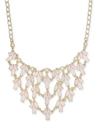 """INC International Concepts - Gold-tone Pink Stone & Imitation Pearl Statement Necklace, 19"""" + 3"""" Extender, Created For Macy's - Lyst"""