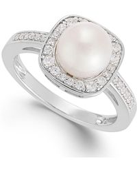 Macy's - Cultured Freshwater Pearl (8mm) And Diamond (1/4 Ct. T.w.) Ring In 14k White Gold - Lyst