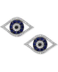 Effy Collection - Sapphire (1/4 Ct. T.w.) & Diamond (1/4 Ct. T.w.) Stud Earrings In 14k White Gold - Lyst