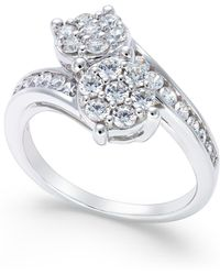 Macy's - Diamond Bypass Ring (1 Ct. T.w.) In 14k White Gold - Lyst