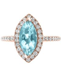 Effy Collection - Effy® Aquamarine (1-1/3 Ct. T.w.) & Diamond (3/8 Ct. T.w.) Ring In 14k Rose Gold - Lyst