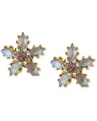 Betsey Johnson - Antique Gold-tone Crystal Flower Stud Earrings - Lyst