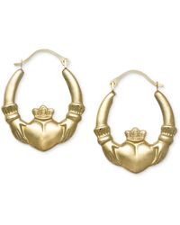 Macy's - 10k Gold Earrings, Claddagh Hoops - Lyst