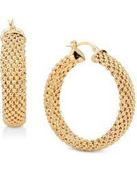 Macy's - Mesh Hoop Earrings In 14k Gold-plated Sterling Silver - Lyst