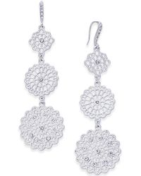 INC International Concepts | Silver-tone Crystal Filigree Disc Triple-drop Earrings, Created For Macy's | Lyst
