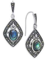 Macy's - Marcasite And Paua Shell Drop Earrings In Silver-plate - Lyst