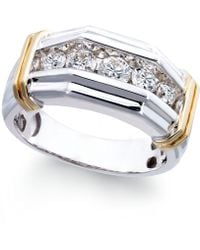Macy's - Men's Diamond (1 Ct. T.w.) Ring In 10k White And Yellow Gold - Lyst