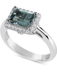 Macy's - Aquamarine (1-5/8 Ct. T.w.) & Diamond (1/6 Ct. T.w.) Ring In 14k White Gold - Lyst