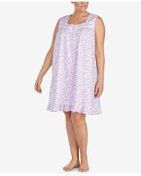 Eileen West - Plus Size Ruffle-hem Cotton Knit Nightgown - Lyst