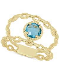 Macy's - Swiss Blue Topaz Double Chain Statement Ring (1-1/10 Ct. T.w.) In 14k Gold - Lyst
