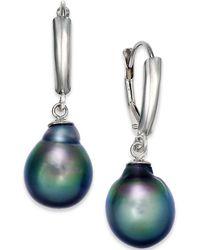 Macy's - Tahitian Pearl Drop Earrings In 14k White Gold (10mm) - Lyst
