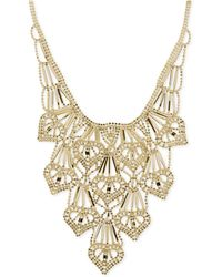 Macy's - Beaded Heart Layered Frontal Necklace In 14k Gold - Lyst