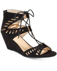 Material Girl - Halona Perforated Lace-up Wedge Sandals - Lyst