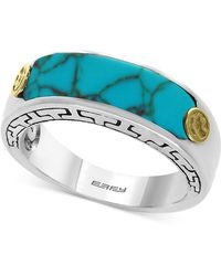 Effy Collection - Men's Manufactured Turquoise Ring (20 X 6mm) In Sterling Silver And 18k Gold-plate - Lyst