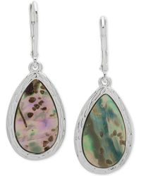 Nine West - Silver-tone Colored Stone Drop Earrings - Lyst