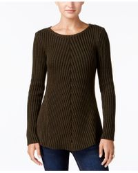 Style & Co. Petite Chevron Ribbed Jumper