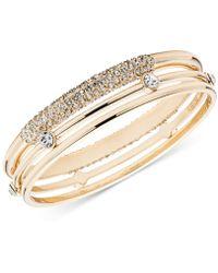 Anne Klein - Gold-tone 3-pc. Set Crystal Bangle Bracelets - Lyst