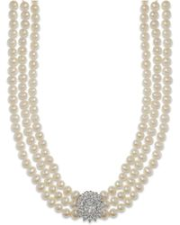 Arabella - Cultured Freshwater Pearl (5mm) And Swarovski Zirconia Necklace In Sterling Silver - Lyst