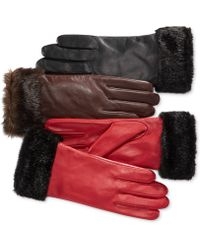 Charter Club - Faux Fur Cuff Leather Tech Gloves - Lyst