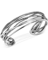 Carolyn Pollack - Polished & Rope Multi-strand Cuff Bracelet In Sterling Silver - Lyst
