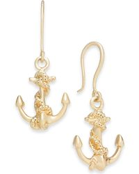 Charter Club - Gold-tone Nautical Anchor Drop Earrings, Created For Macy's - Lyst