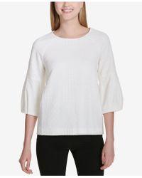 Calvin Klein - Textured 3/4-sleeve Top - Lyst