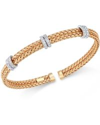 Macy's - Diamond Mesh Bangle Bracelet (1/2 Ct. T.w.) In Rose, Yellow Or White Gold-plated Sterling Silver - Lyst