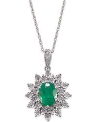 Macy's - Emerald (1 Ct. T.w.) And Diamond (1/5 Ct. T.w.) Pendant Necklace In 14k White Gold - Lyst