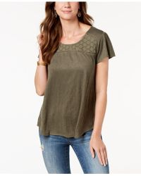 Style & Co. - Crochet-contrast T-shirt, Created For Macy's - Lyst