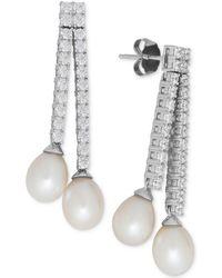 Arabella - Cultured Freshwater Pearl (7mm) And Swarovski Zirconia Drop Earrings In Sterling Silver - Lyst