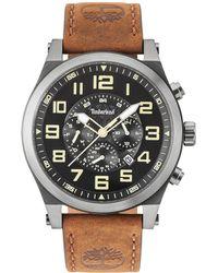 Timberland - Men's Tilden Dark Brown Leather Strap Watch 48mm - Lyst