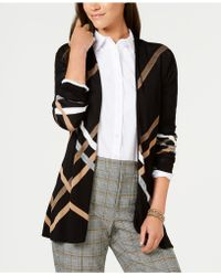 Charter Club - Diagonal-plaid Open Cardigan, Created For Macy's - Lyst