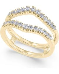 Macy's - Diamond Curved Solitaire Enhancer Ring Guard (3/8 Ct. T.w.) In 14k White Gold - Lyst