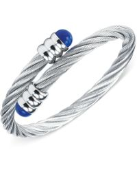 Charriol - Womens Silver-tone Lapis Lazuli Cable Bangle Bracelet - Lyst