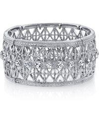 2028 - Silver Tone Crystal Wide Lattice Filigree Bracelet - Lyst