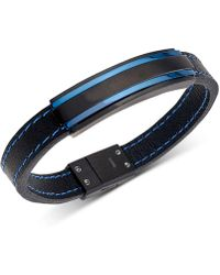 Macy's - Two-tone Black Leather Bracelet In Matte Black & Shiny Blue Ion-plated Stainless Steel - Lyst