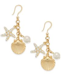 Charter Club - Gold-tone Imitation Pearl Sea Motif Drop Earrings - Lyst