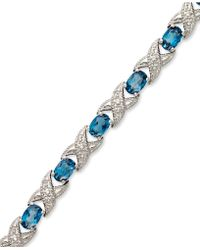 Macy's - London Blue Topaz (7-1/2 Ct. T.w.) And Diamond Accent Xo Bracelet In Sterling Silver - Lyst