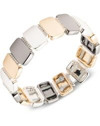 Nine West - Tri-tone Pavé Stretch Bracelet - Lyst