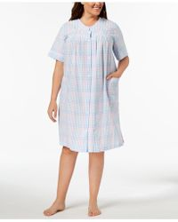 Miss Elaine - Plus Size Woven Embroidered Robe - Lyst