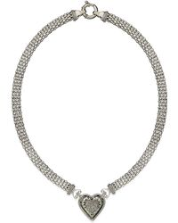 Macy's - Diamond Mesh Heart Necklace In Sterling Silver (1/4 Ct. T.w.) - Lyst