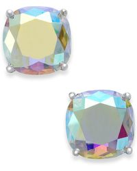 Kate Spade - Silver-tone Faceted Abalone Square Stud Earrings - Lyst