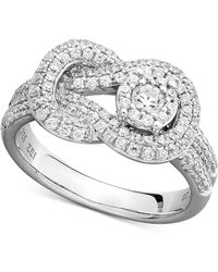 Macy's - Diamond Pave Knot Ring In 14k White Gold (3/4 Ct. T.w.) - Lyst