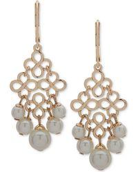 Anne Klein - Gold-tone Imitation Pearl Chandelier Earrings - Lyst