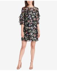 Vince Camuto - Floral Print Ruffle-sleeve Shift Dress - Lyst