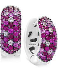 Effy Collection - Effy® Ruby Pavé Huggy Hoop Earrings (1-3/8 Ct. T.w.) In Sterling Silver - Lyst
