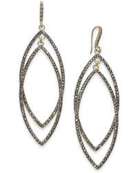 INC International Concepts - Gold-tone Dark Pavé Double Drop Earrings - Lyst