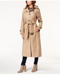 London Fog - Hooded Belted Maxi Trench Coat - Lyst