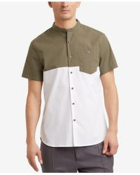 Kenneth Cole Reaction - Colorblocked Band-collar Pocket Shirt - Lyst